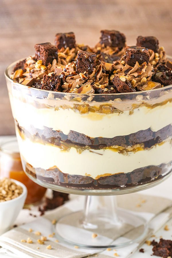 close up side angle of caramel cheesecake brownie trifle