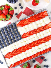 overhead shot of flag angel food cake