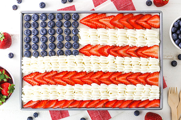 horizontal image of angel food flag cake