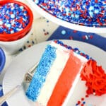 slice of red white and blue ice cream cake
