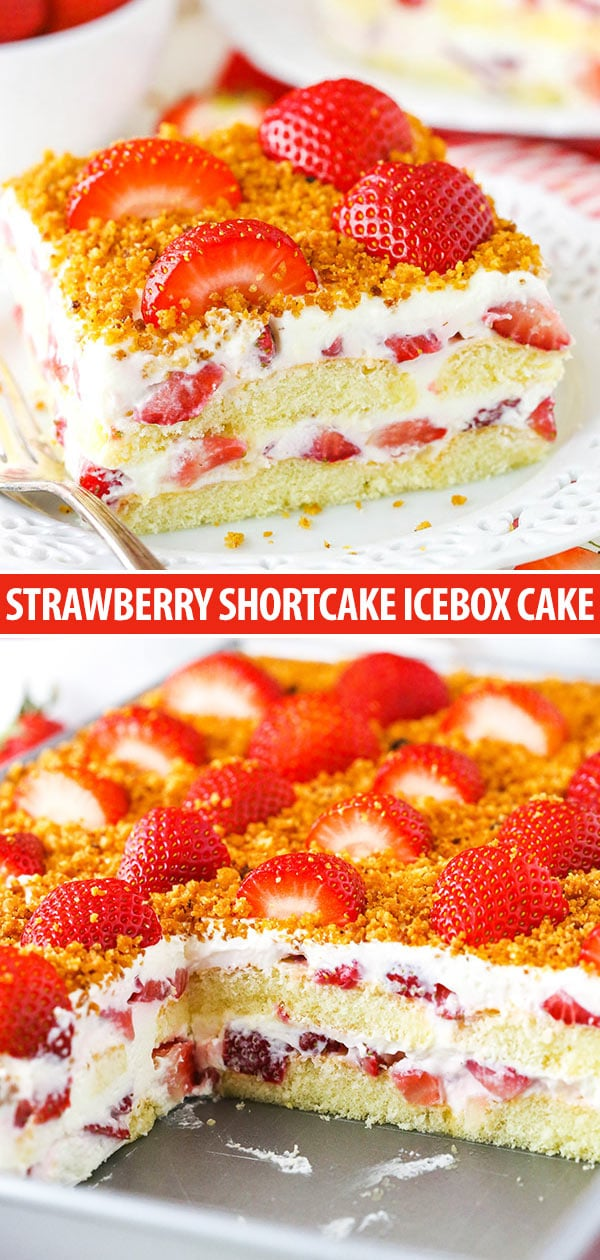 strawberry shortcake icebox cake collage