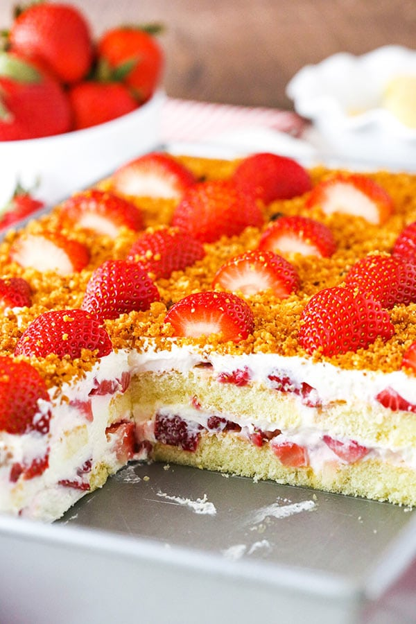 cross section of strawberry shortcake icebox cake