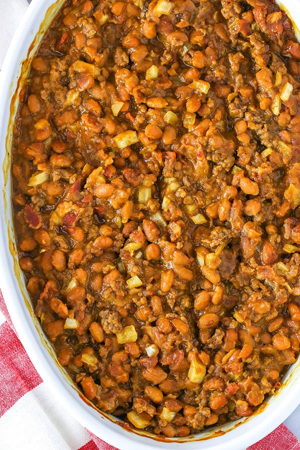 overhead photo of baked beans in casserole dish