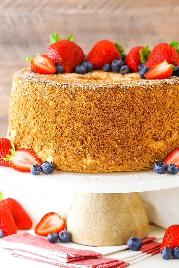 Angel Food Cake on a cake stand