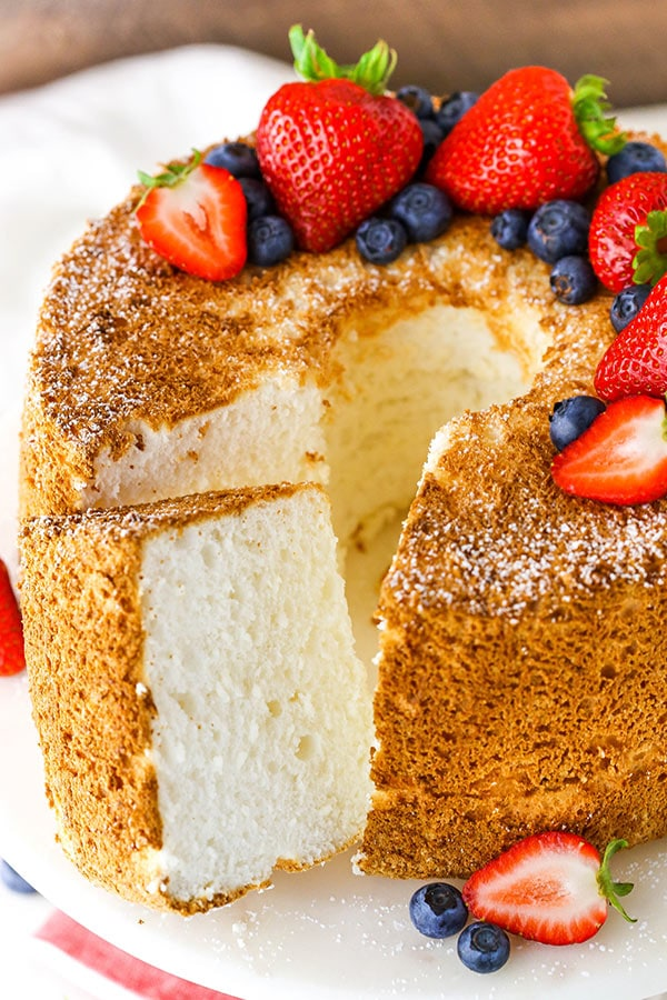 Angel Food Cake with a couple slices cut out