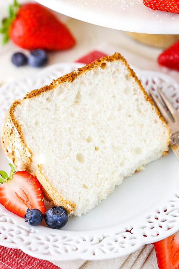 close up of Angel Food Cake slice