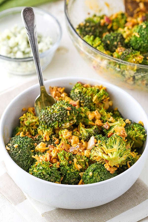 serving of broccoli salad in a small bowl