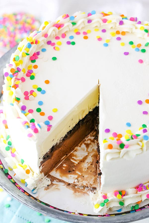 full Copycat Dairy Queen Ice Cream Cake with a slice cut out