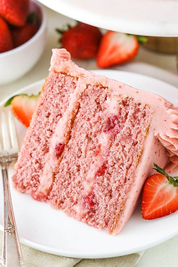 slice of homemade fresh strawberry cake