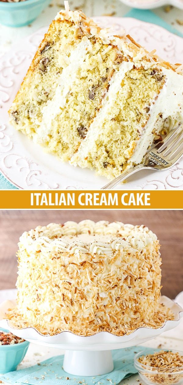Italian Cream Cake Collage - whole cake and slice of cake