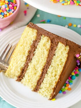 Slice of Homemade Moist Yellow Cake