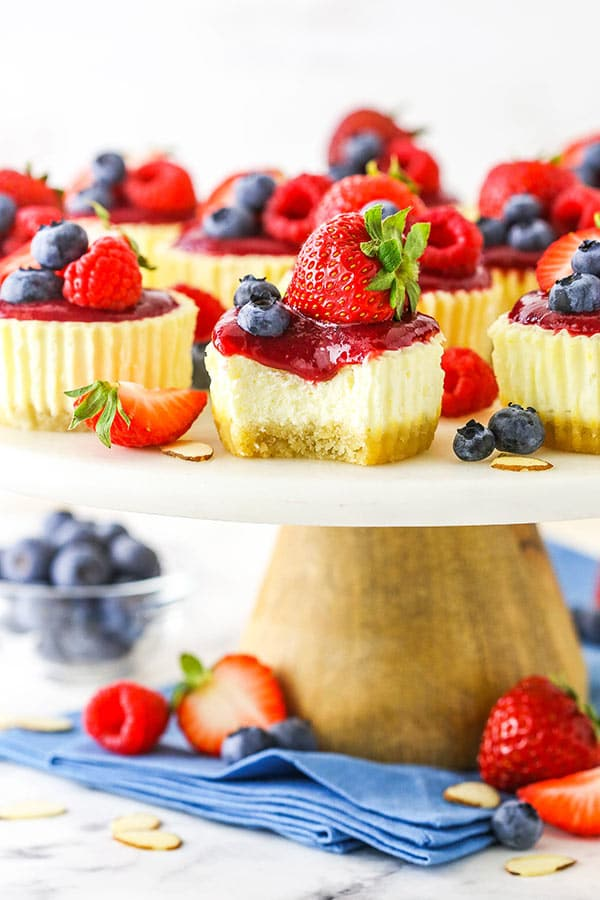 Mini Berry Almond Cheesecakes on stand