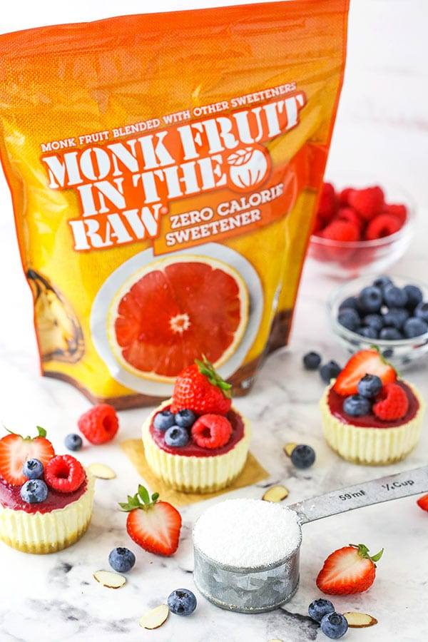 Monk Fruit in the raw sweetener with mini cheesecakes