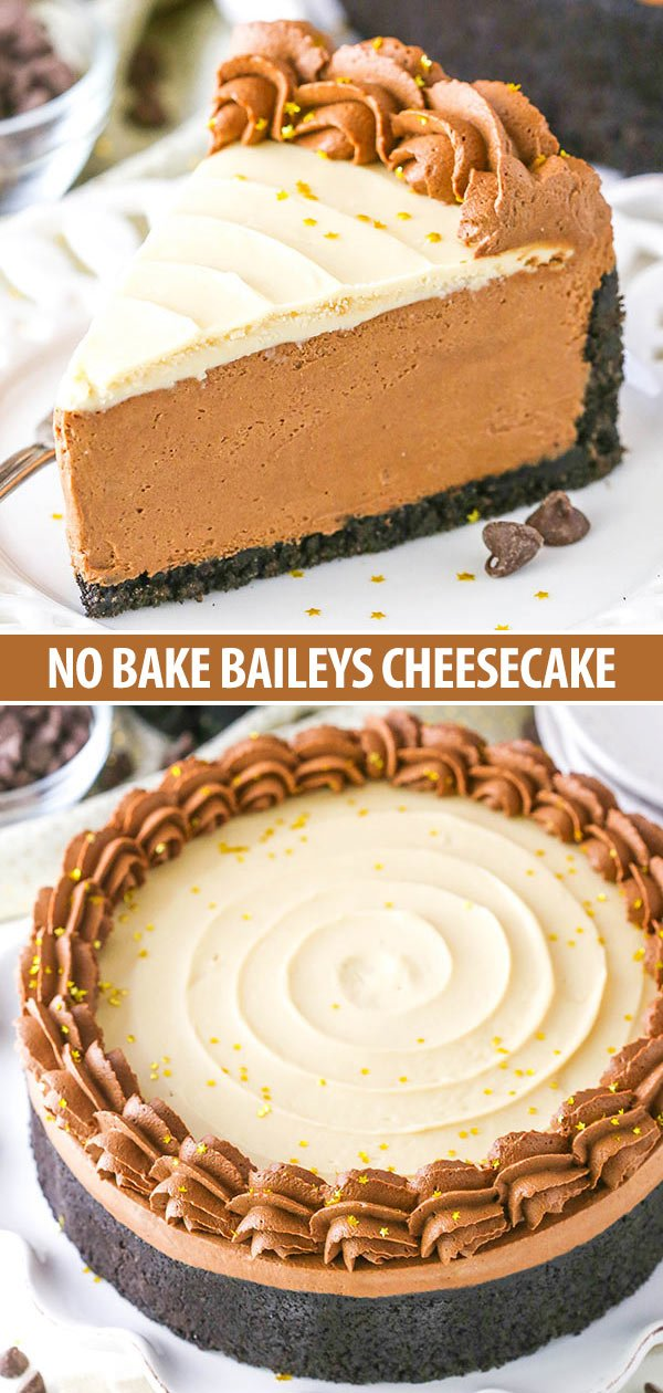 No Bake Baileys Chocolate Cheesecake photo collage