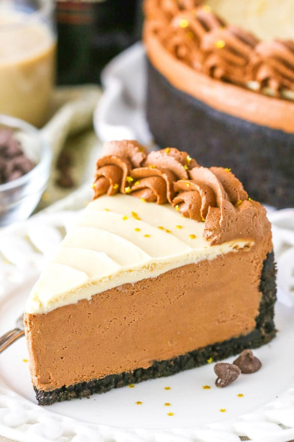 No Bake Baileys Chocolate Cheesecake slice