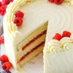 Raspberry Dream Cake - layers of moist vanilla cake, raspberry filling and cream cheese frosting