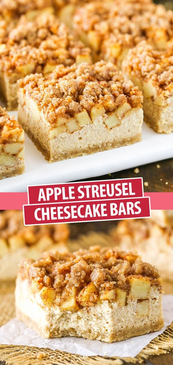 These Apple Streusel Cheesecake Bars have a buttery shortbread crust, creamy cheesecake filling and are topped with cinnamon apples and a cinnamon streusel!