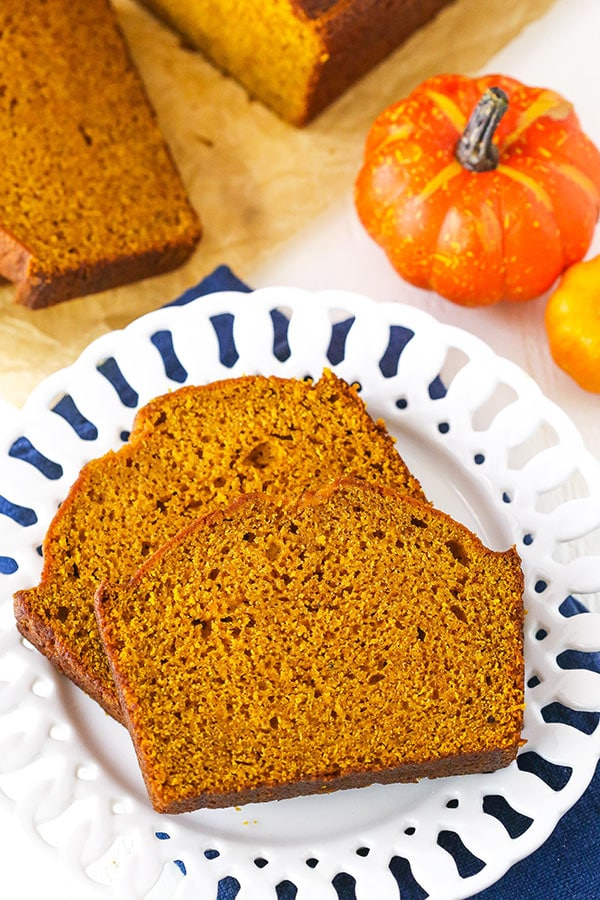 Slices of pumpkin bread overhead view
