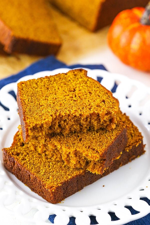 pumpkin bread slices on white plate