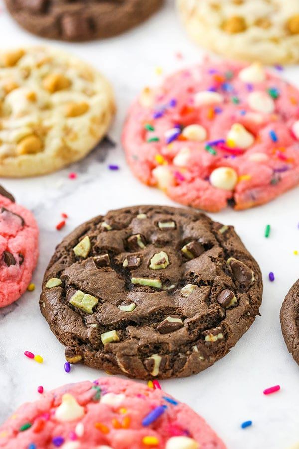 These Cake Mix Cookies use only four ingredients, require no chilling and are super easy to make!