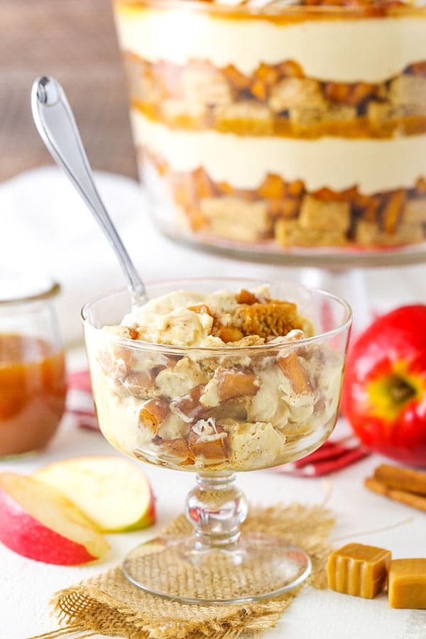 This Caramel Apple Cheesecake Blondie Trifle is made with layers of cinnamon blondie, tender cinnamon apples, caramel cheesecake and caramel sauce!