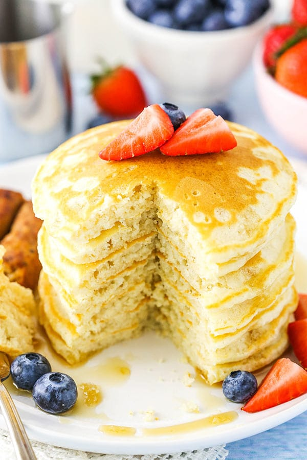These Homemade Pancakes are fluffy, easy to make and quick to throw together in the morning!