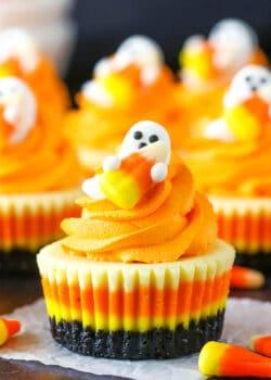 Mini Candy Corn Cheesecakes   Fun & Easy Halloween Food Idea