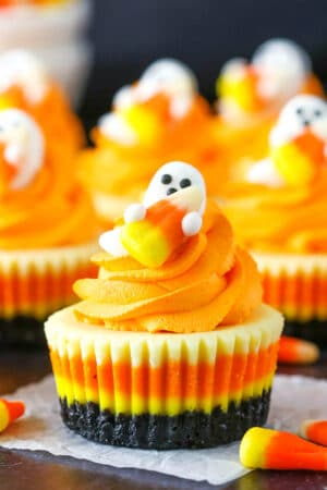 Mini Candy Corn Cheesecakes | Fun & Easy Halloween Food Idea