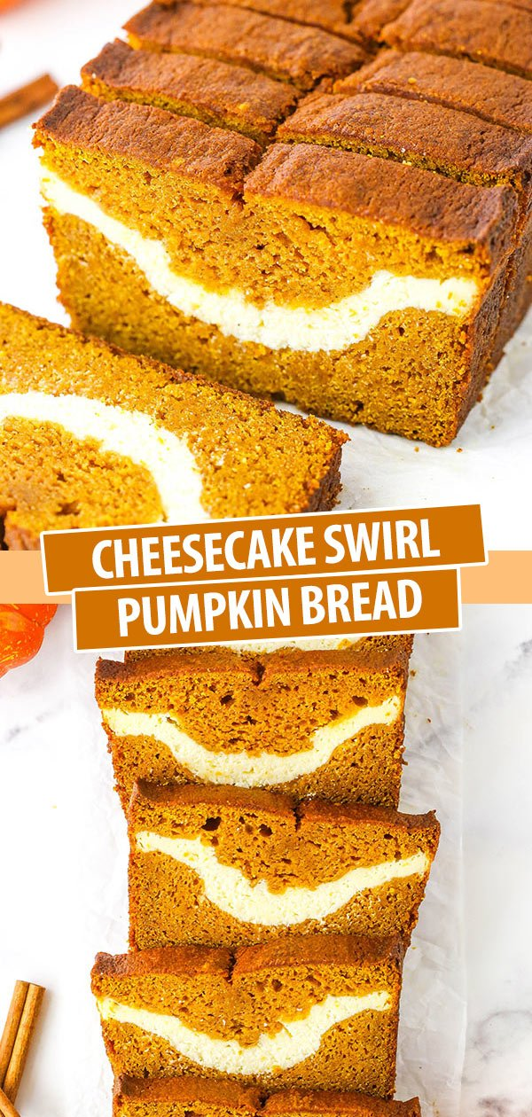 Pinterest image Cheesecake Swirl pumpkin bread collage