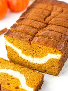 Close up image of Cheesecake Swirl Pumpkin Bread