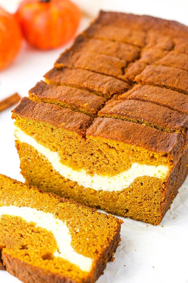 close up of cheesecake swirl pumpkin bread