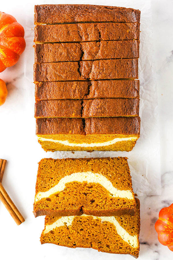 overhead of cheesecake swirl pumpkin bread