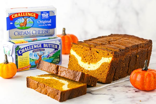 horizontal image of pumpkin bread