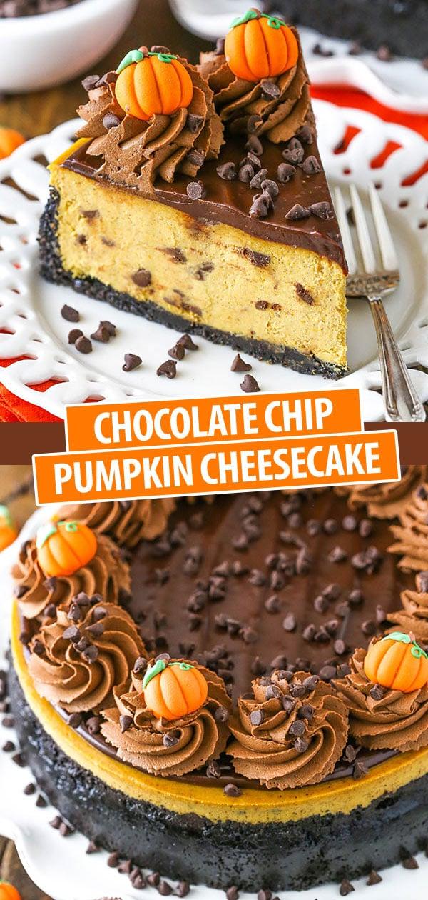 Chocolate Chip Pumpkin Cheesecake Pinterest collage