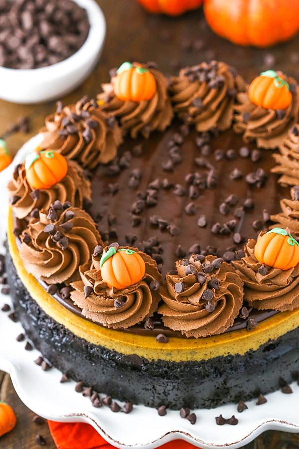full chocolate chip pumpkin cheesecake
