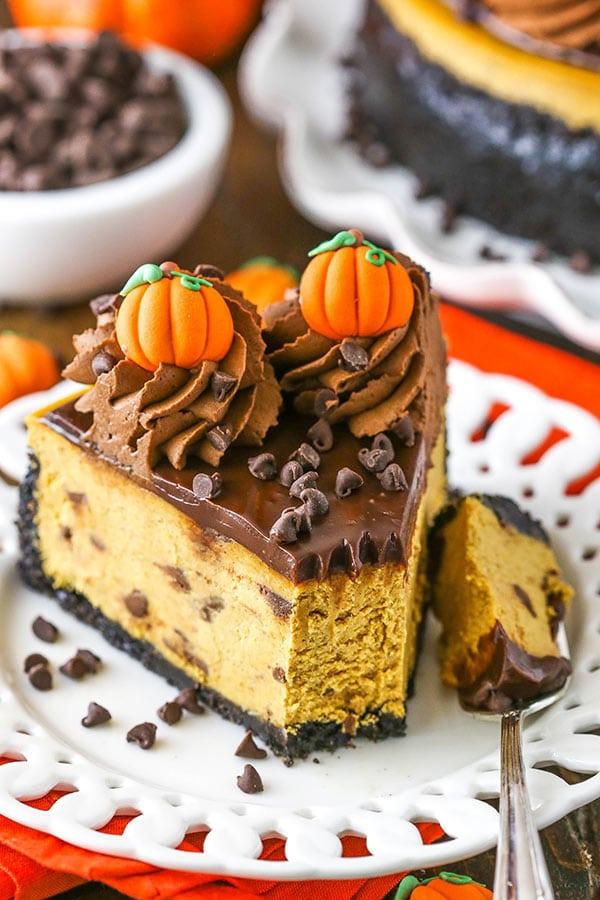 bite of chocolate chip pumpkin cheesecake