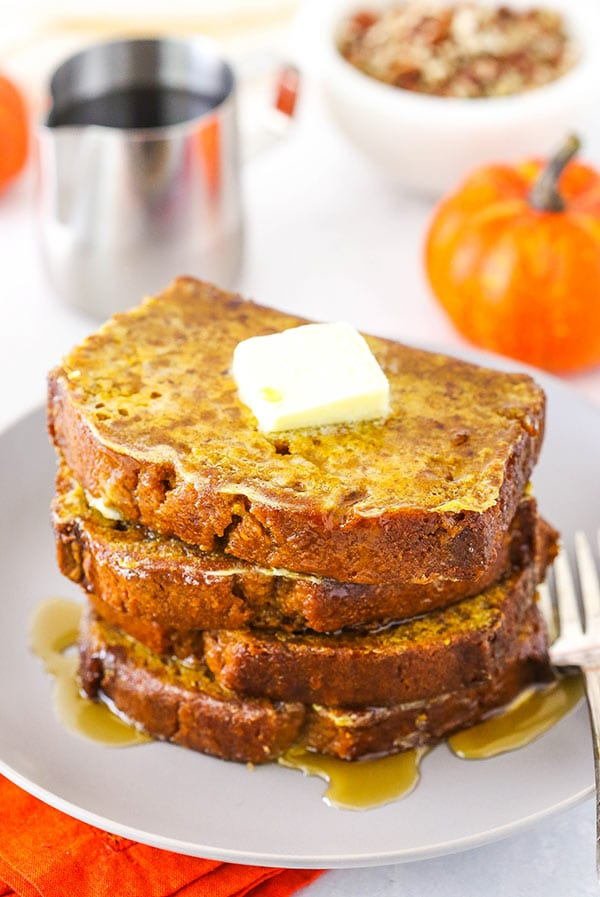 pumpkin bread french toast with butter and syrup