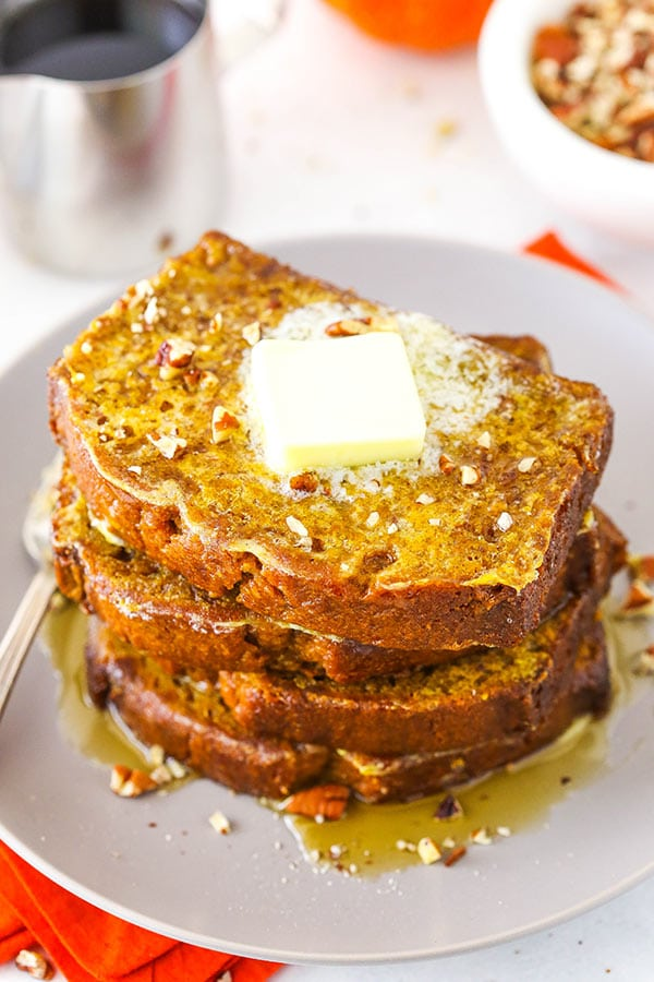pumpkin bread french toast with some pecans on top