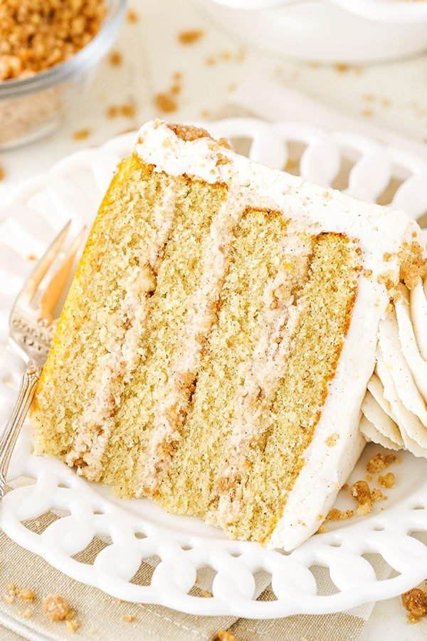 slice of snickerdoodle layer cake