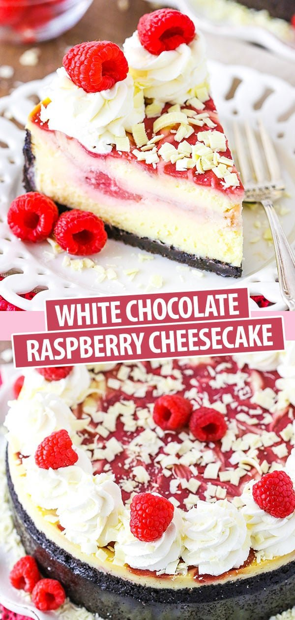 White Chocolate Raspberry Cheesecake collage