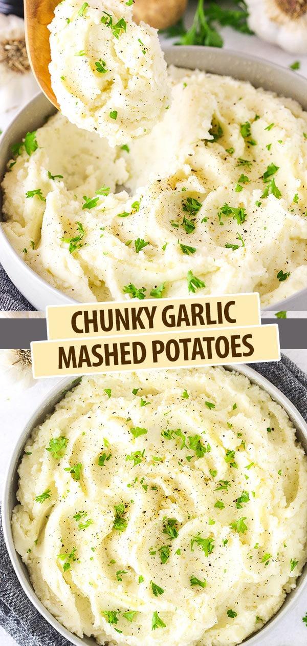 Pinterest image Chunky Garlic Mashed Potatoes