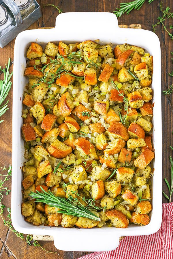 homemade stuffing in a casserole dish