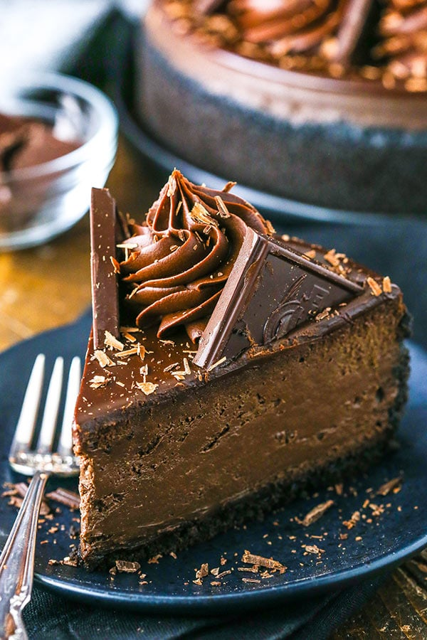 close up of slice of dark chocolate cheesecake