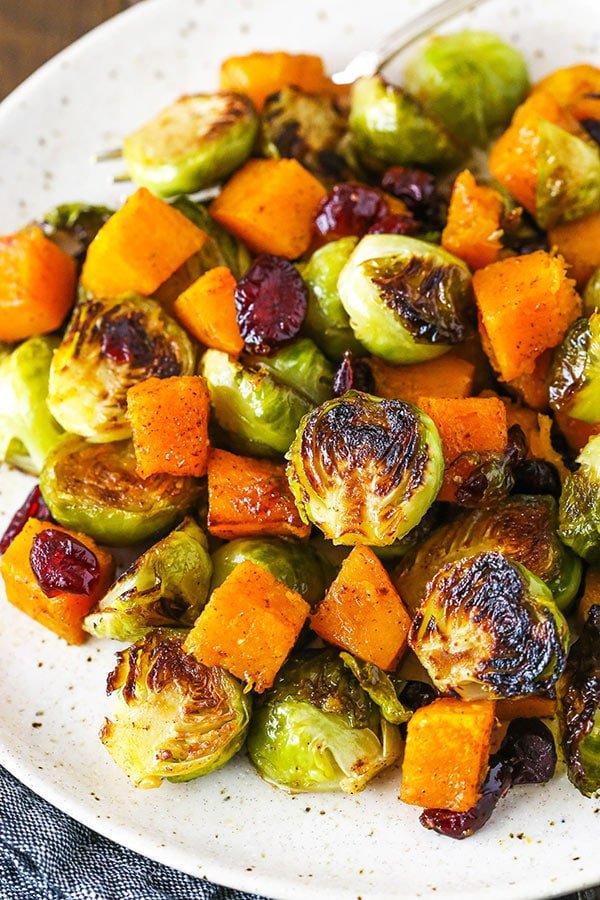 brussels sprouts and butternut squash on plate