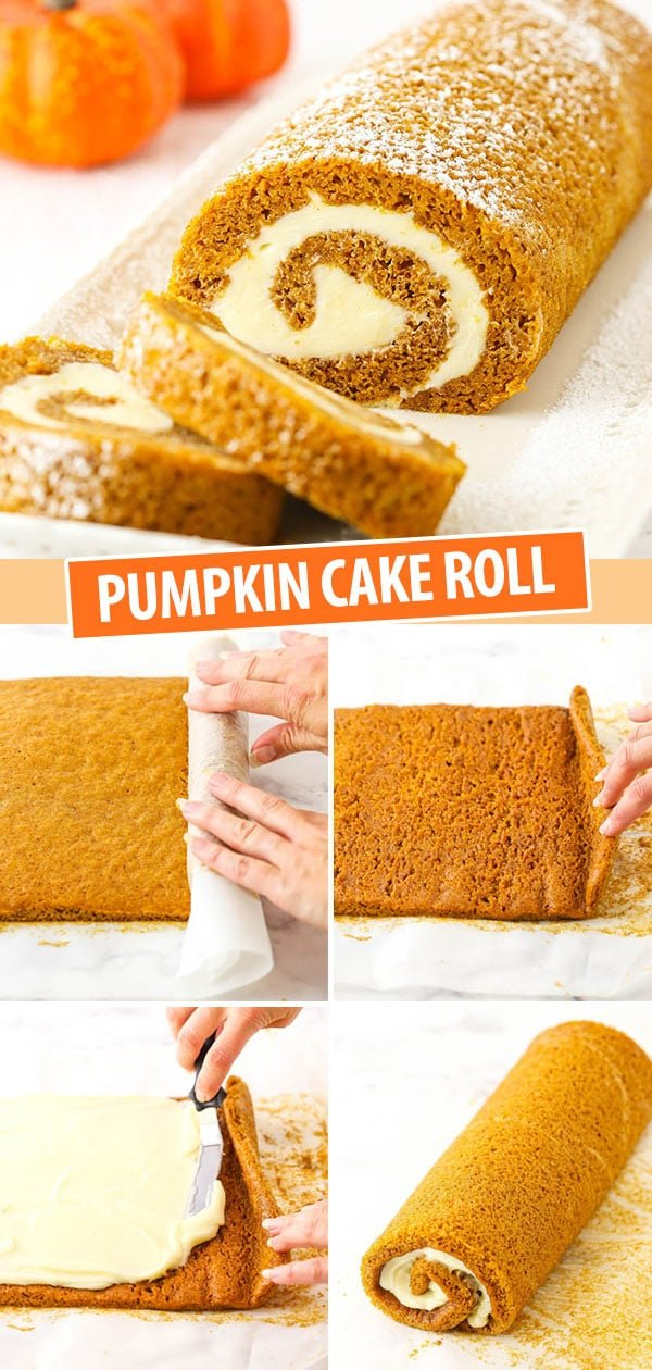 Pumpkin Cake Roll collage