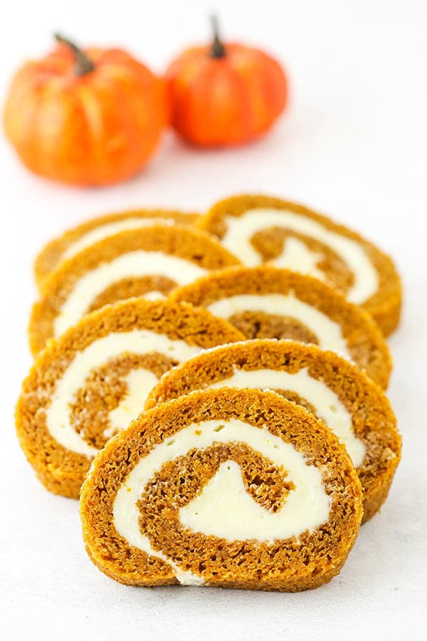 slices of pumpkin cake roll