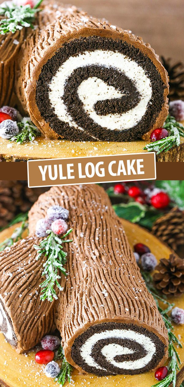 Pinterest collage for Yule Log Cake