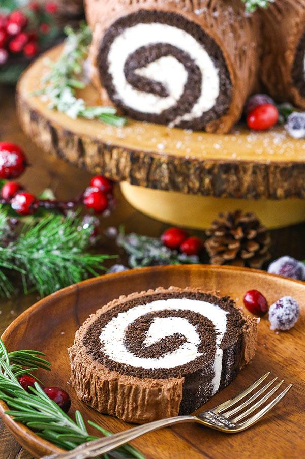 slice of yule log cake