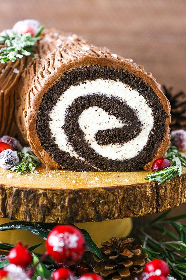 cross section of yule log cake