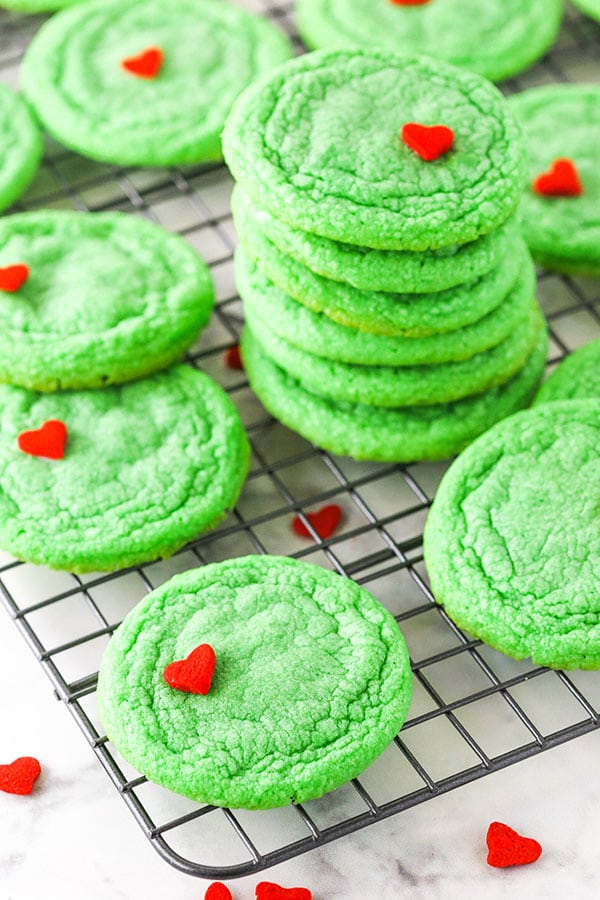 grinch cookies stacked